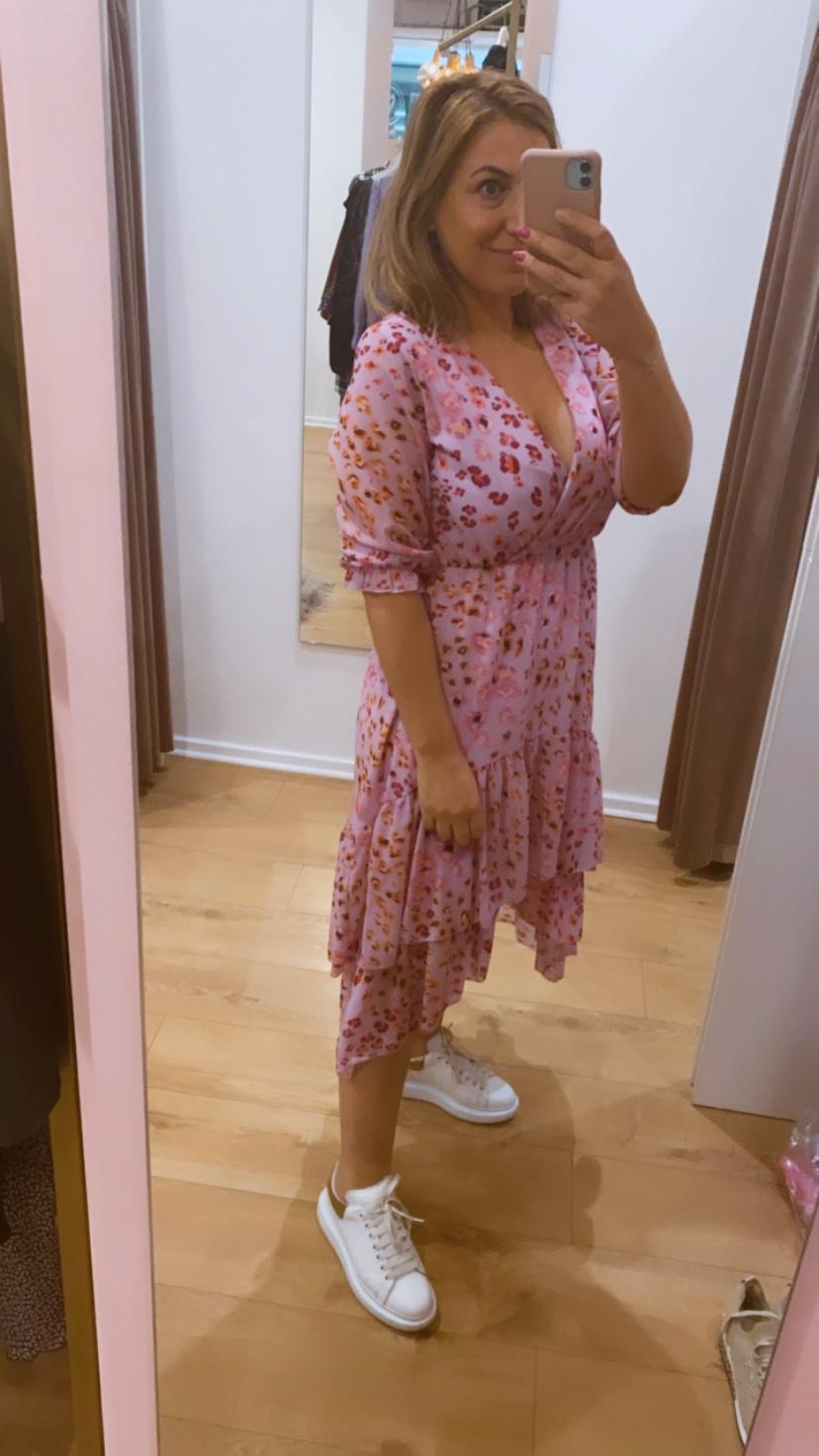 TS Ella Leopard Dress Pink