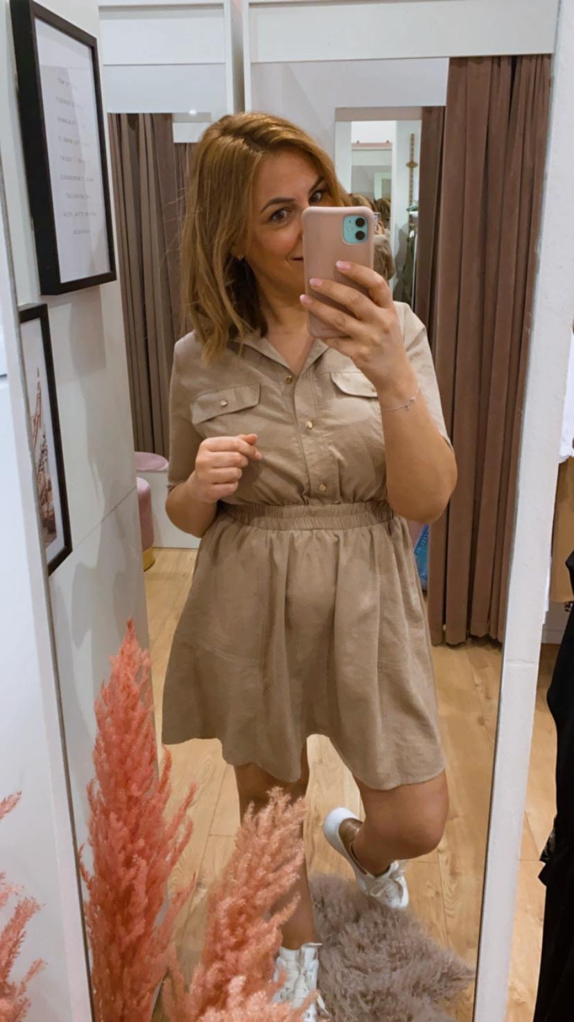 RS Eva Chemisier Dress Sabbia Beige