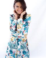 YENTLK Dress Print Blue/Green/Ocre