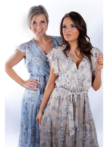 YENTLK Long Dress Blue Flowers & Lurex