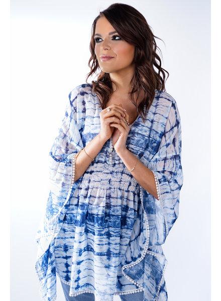 YENTLK Kimono Tie Dye Blue