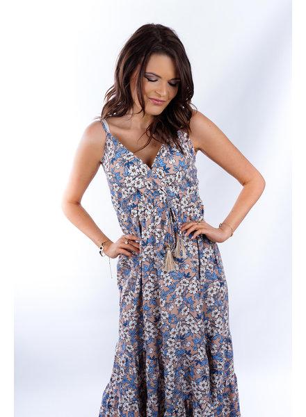 YENTLK Yentl Summer Dress Flowers Blue/Taupe