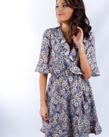 YENTLK YentlK Dress Flowers Blue/taupe
