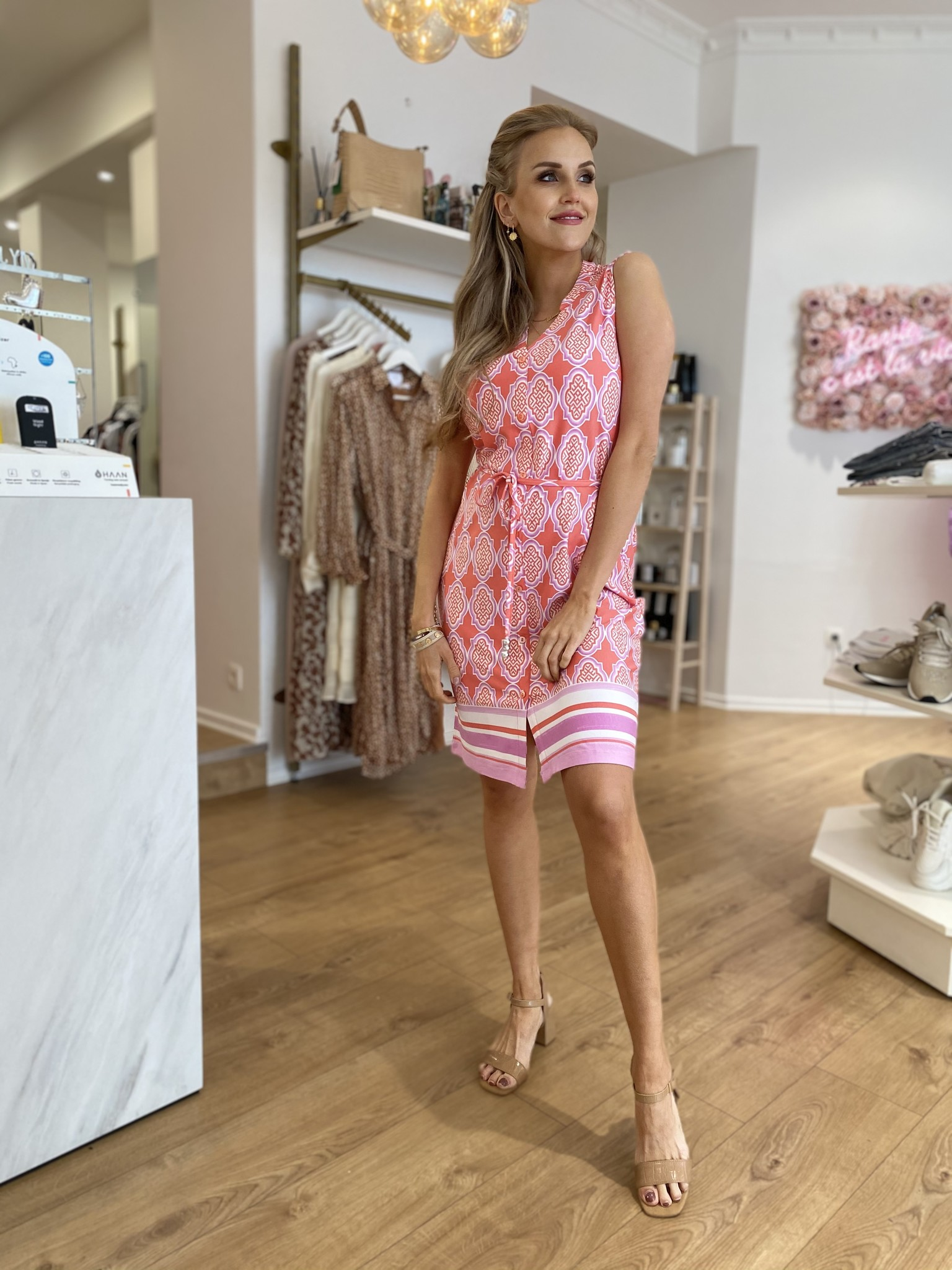 ES Dress Print Pink/Lila/White