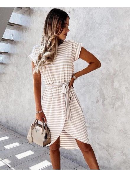 TS Casual Chic Dress Stripes Beige