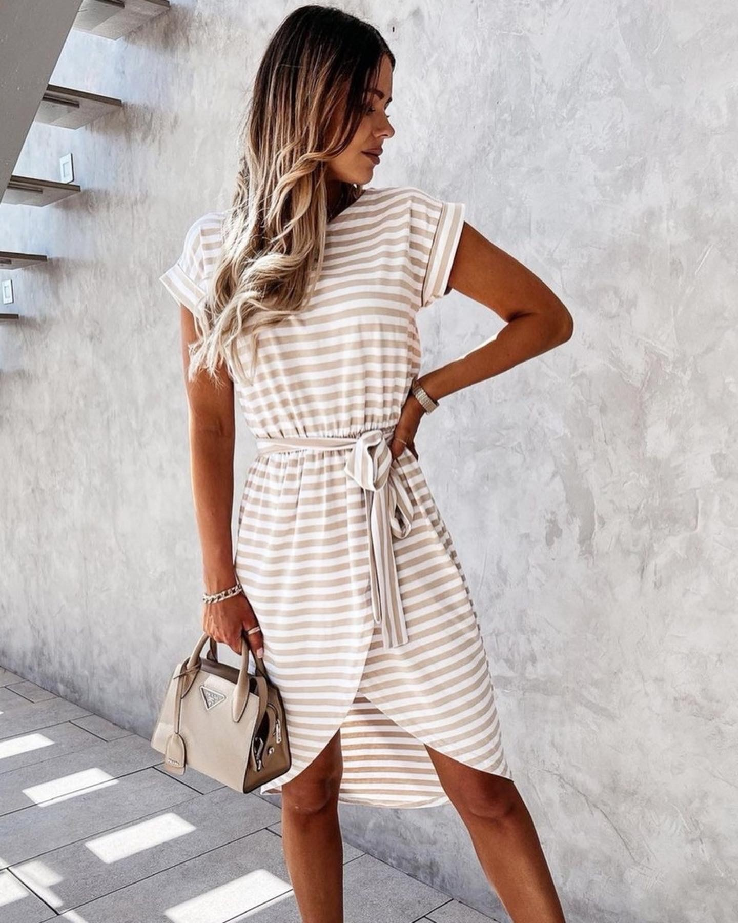 TS Casual Chic Dress Stripes Beige