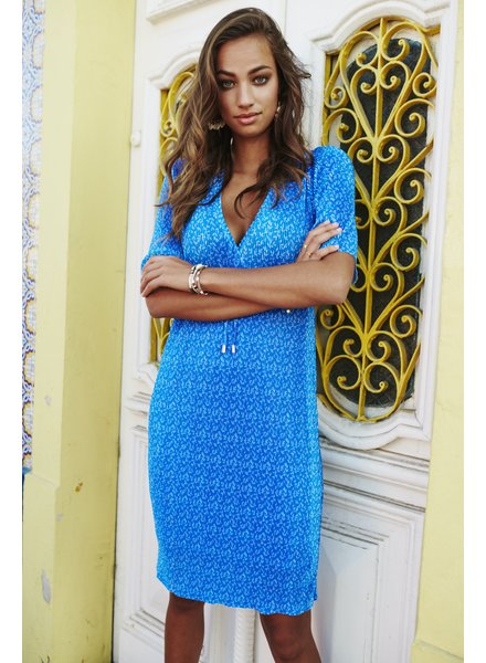 ES Plisse Dress Leaf Print