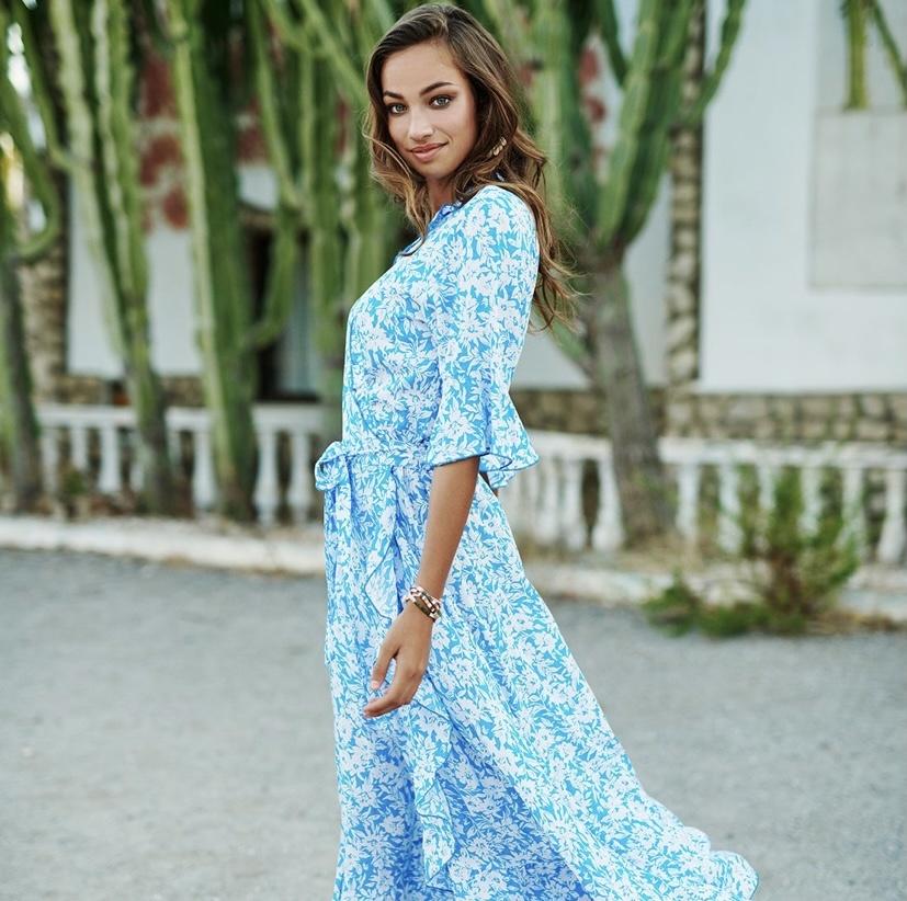 ES Dress Summer Shadow Blue/White