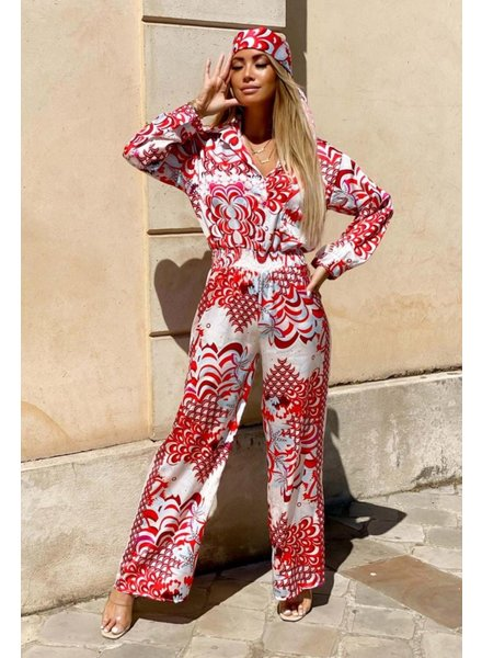 TS Satin jumpsuit  Red Tone