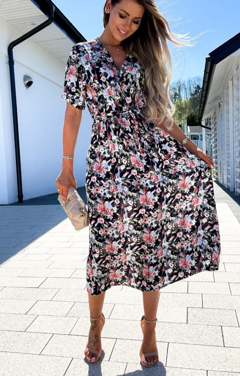 TS Black Chemisier Dress Flowers