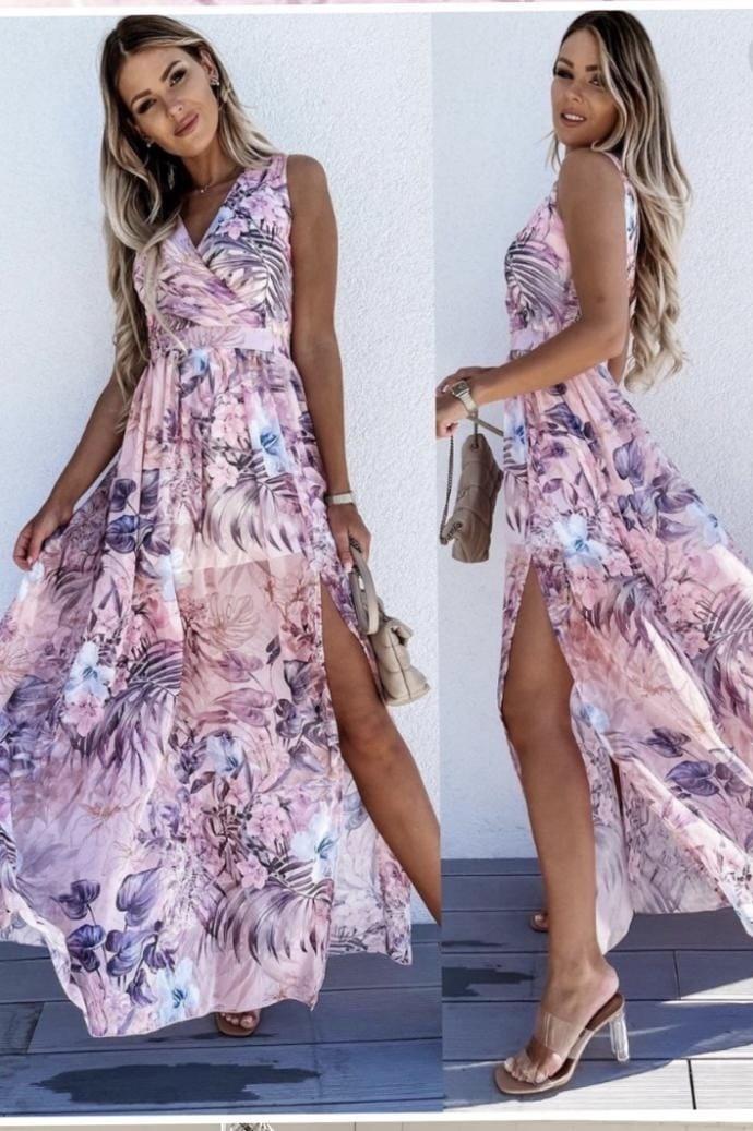 TS Maxi Dress Flowers Split