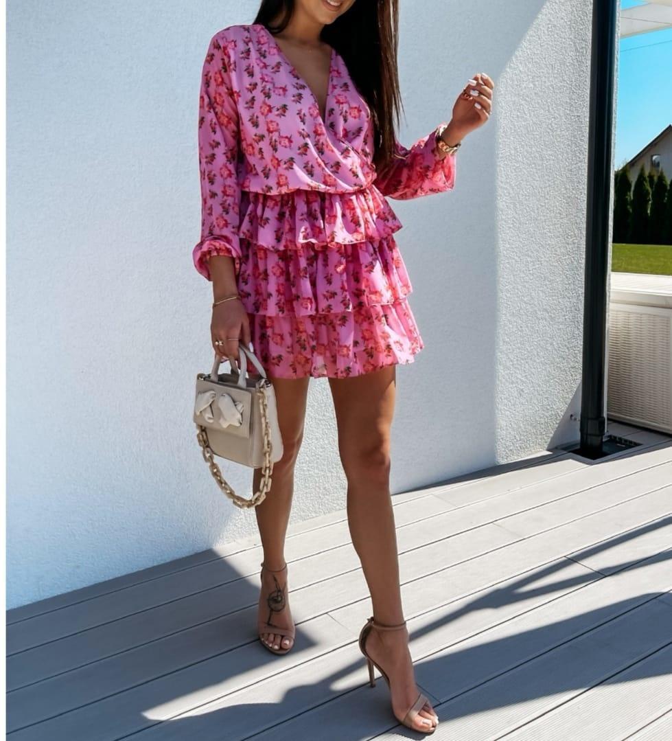 TS Estelle Dress Pink Ruffles