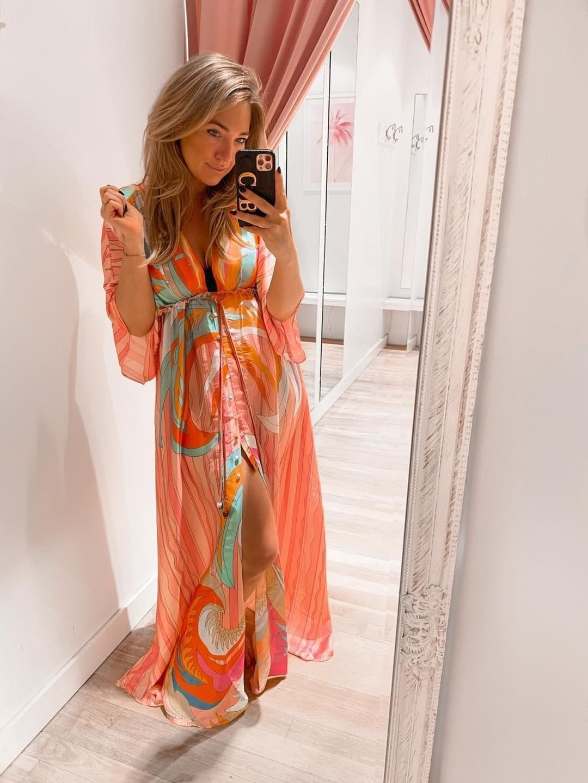 TS Summer Satin Dress Orange Tone