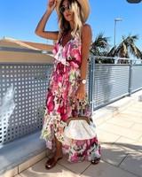 TS Summer Split Dress Print Pink