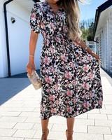 Black Chemisier Dress Flowers