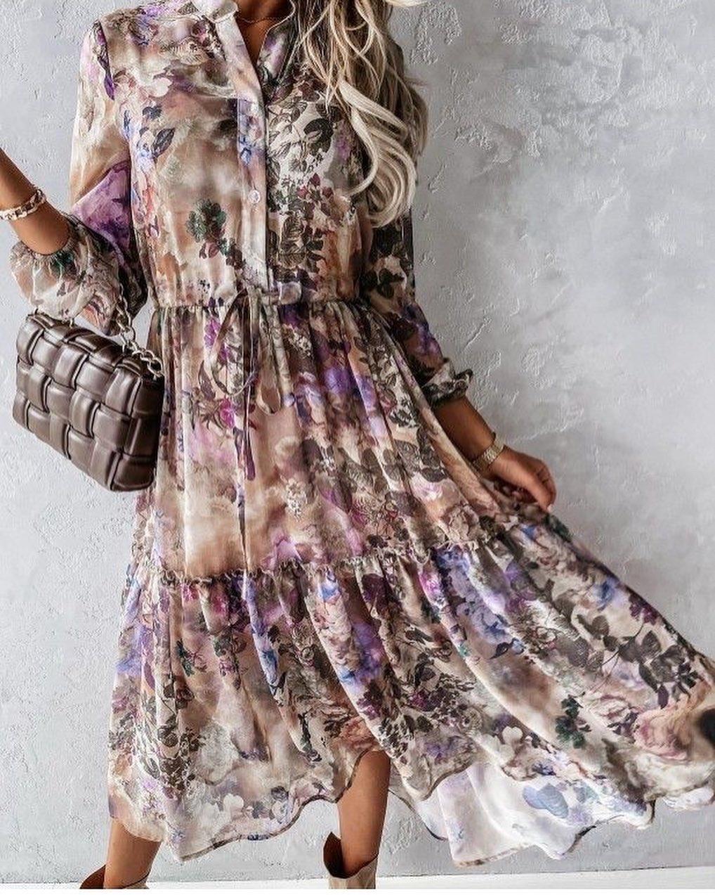TS Inez Dress Taupe/Lila Flowers