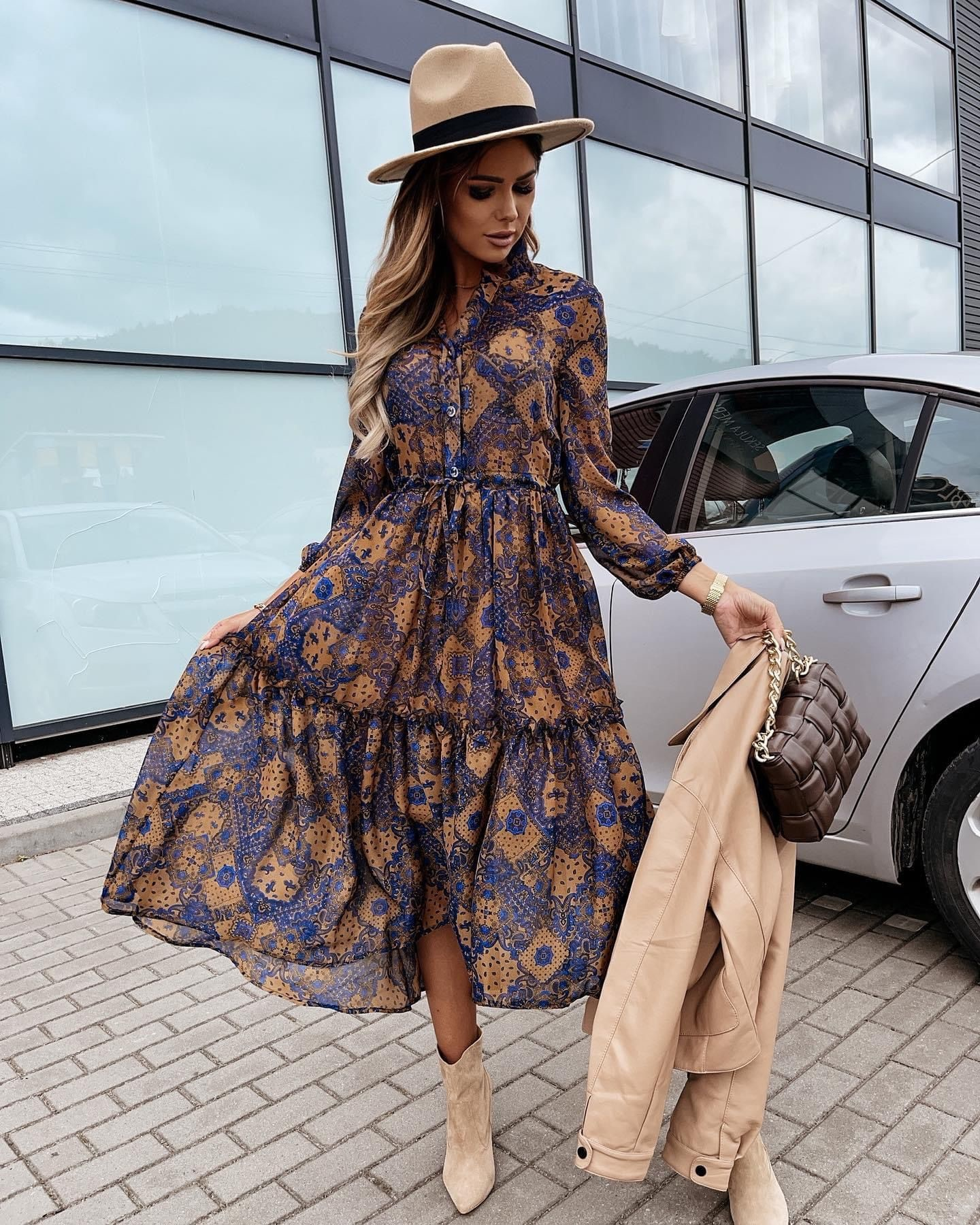 TS Lauranne Dress Blue/Camel
