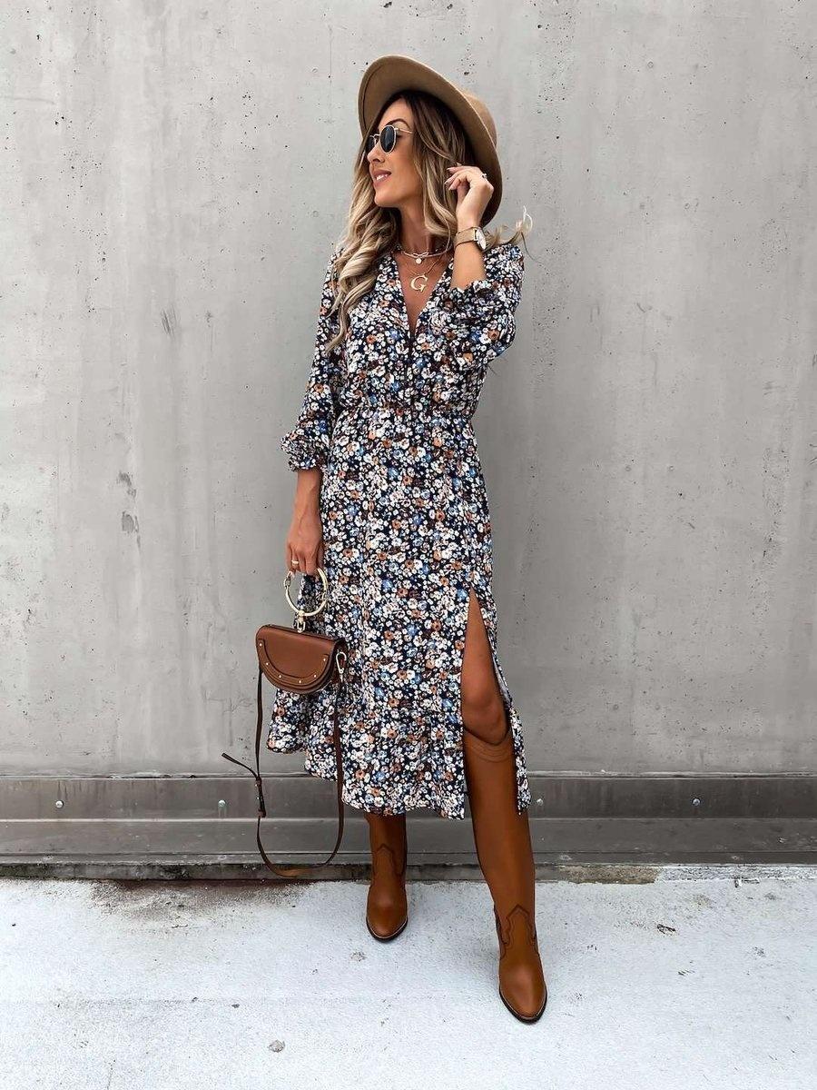 TS Eleisa Dress Brown/Blue