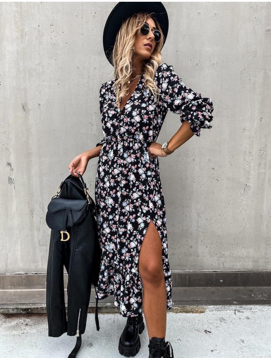 TS Eleisa Black/Pink/White  Dress