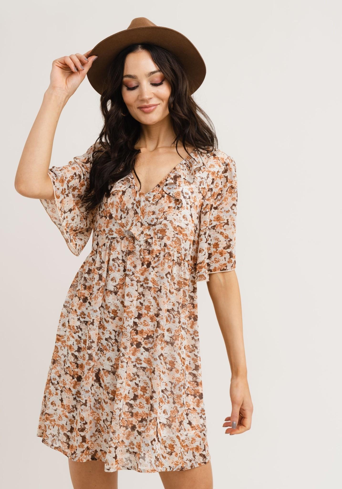 RC Mindy Dress Brown Flower