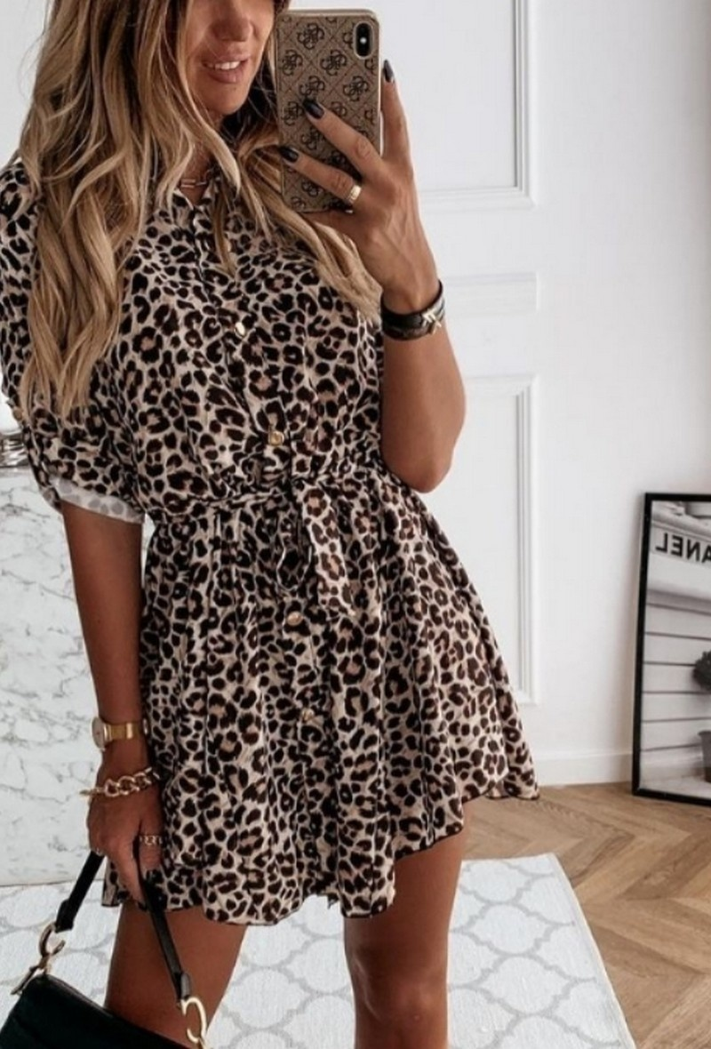 TS Elodie Short Chemisier Dress Leopard