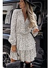 TS Pretty Dress Ruches White & Black