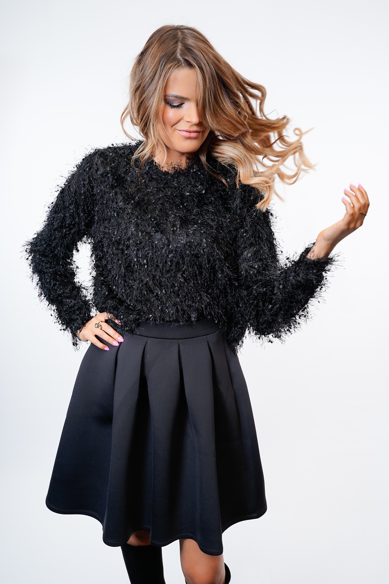 YENTLK Fril Knit Black