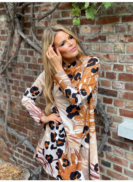 YENTLK Sweater Dress Animal Print