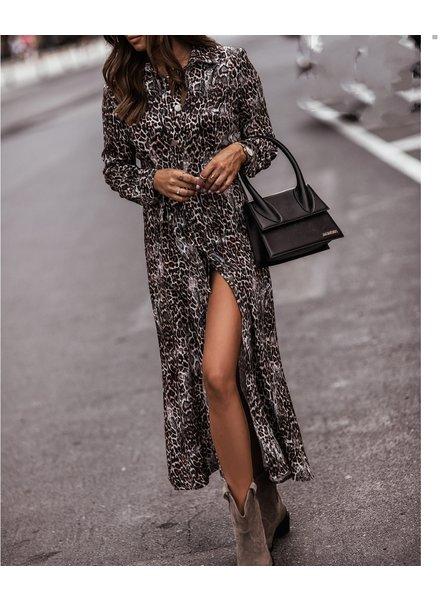 TS Elise Long Chemisier Dress Leopard