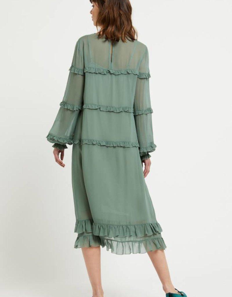 Ottod'Ame Viscose midi dress with ruches