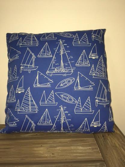"Gotcha Covered Sail Boat Pillow 22"""