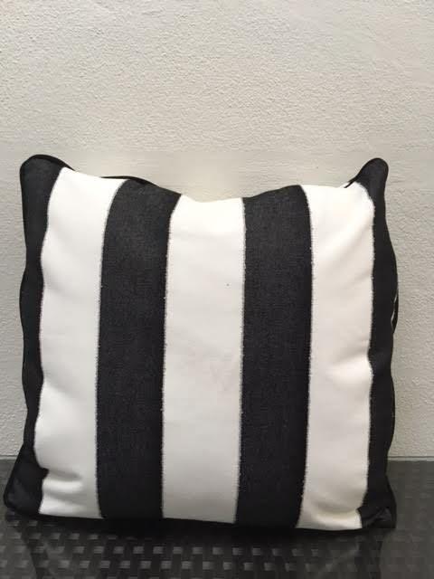 "Sunset West USA Black & White Stripe 22"" Pillow"