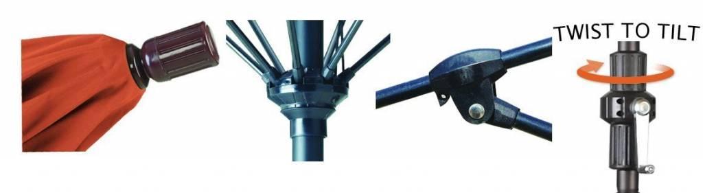 California Umbrella 9' Fiberglass Tilt/Bronze/Olefin/Sunset Umbrella