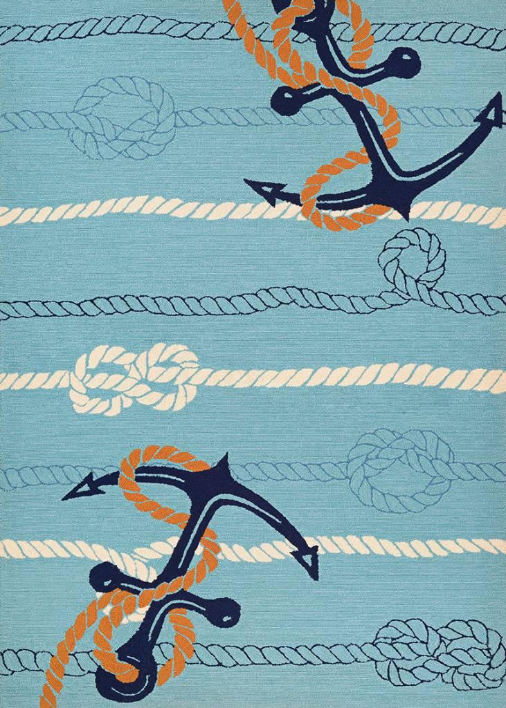 """Couristan Outdoor Escape Anchorbend Ocean Blue 5'6""""x8'"""