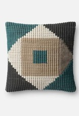 """Loloi P0505 IN/OUT Teal/Multi 18""""x18"""""""