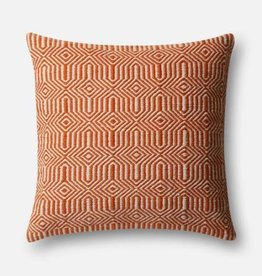 "Loloi P0339 IN/OUT Orange/Ivory 22""x22"""