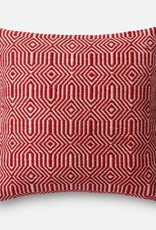 """Loloi P0339 IN/OUT Red/Ivory 22""""x22"""""""