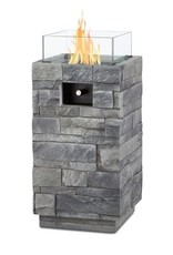 Real Flame Gray Ledgestone LP Fire Column 1lb Tank