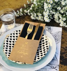 Indigo De Papel Eat Drink & Celebrate Silverware Holders (12 Per Pack)