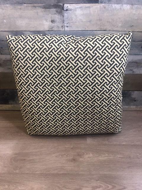 "Gotcha Covered Black/Ivory Geometric 22"" Pillow"