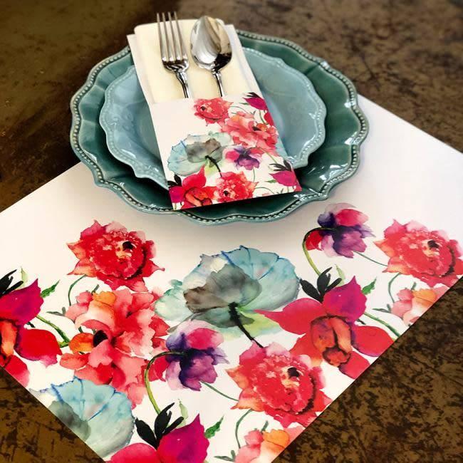 Indigo De Papel Watercolor Flowers Paper Placemats (24 Per Pack)
