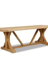 Sunset West USA RUSTIC NATURAL TEAK 94'' TRESTLE DINING TABLE