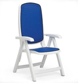 Nardi Delta 5 Position Folding Chair - Bianco/Blue