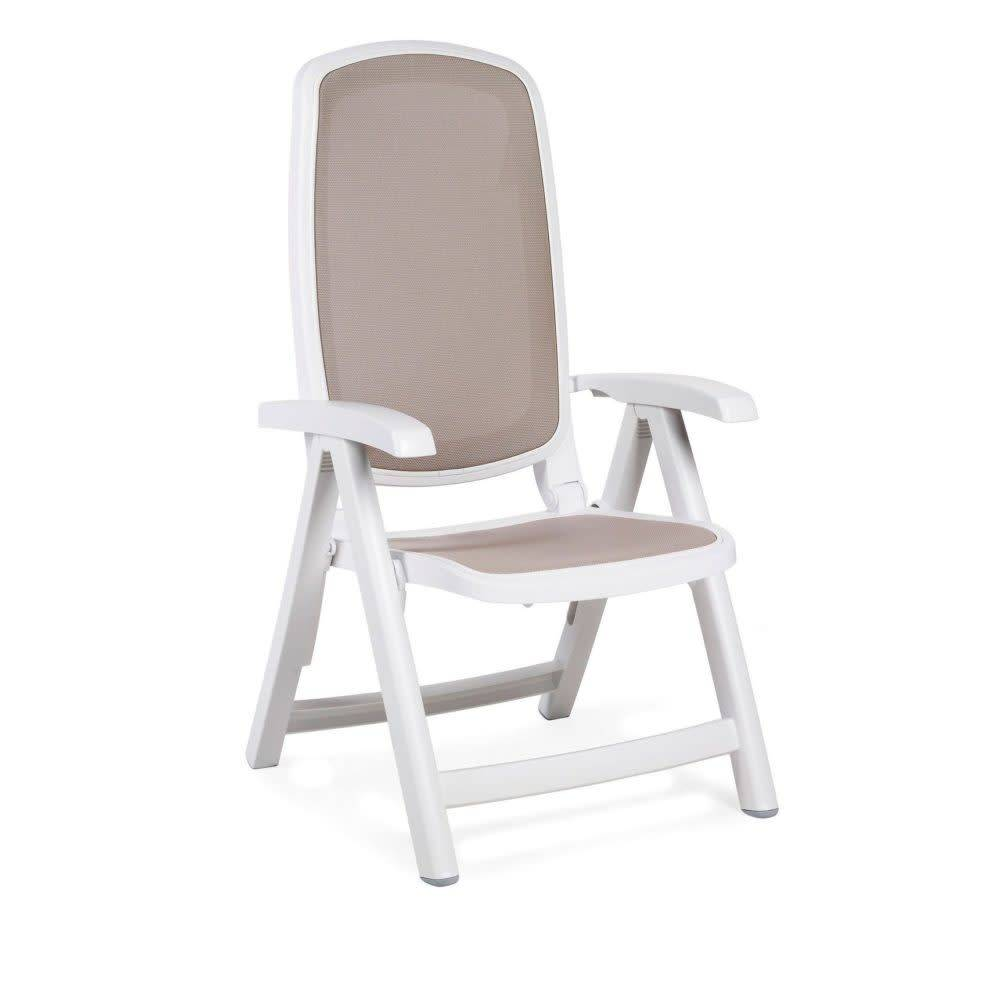 Nardi Delta 5 Position Folding Chair - Bianco/Tortora
