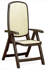 Nardi Delta 5 Position Folding Chair - Caffe w/Beige Fabric