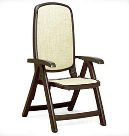 Nardi Delta 5 Position Folding Chair - Caffe w/ Straw Fabric