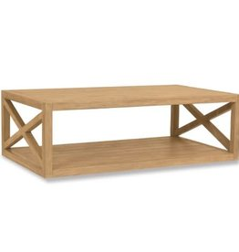 "Sunset West USA RUSTIC NATURAL TEAK ""X"" COFFEE TABLE"