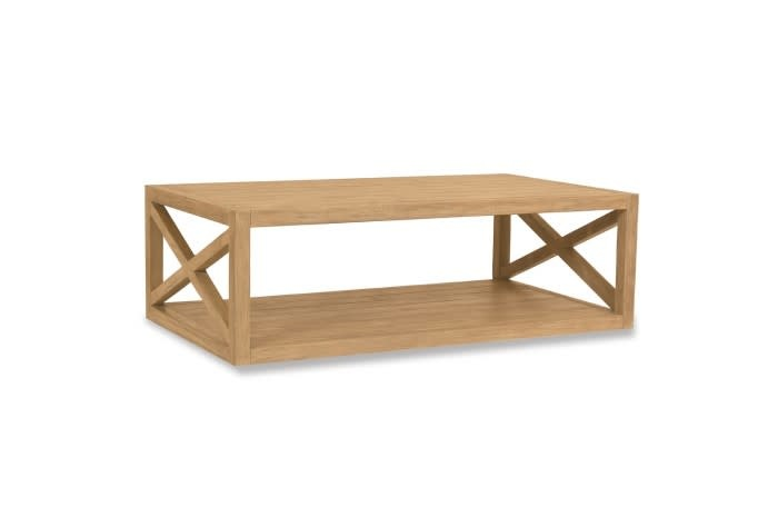 """Sunset West USA RUSTIC NATURAL TEAK """"X"""" COFFEE TABLE"""