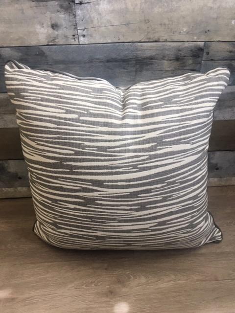 "Sunset West USA Gray & White Horizontal Print 20"" Pillow"
