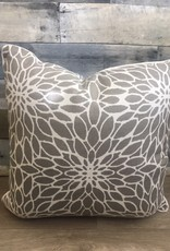 "Sunset West USA Taupe Flower Pattern 20"" Pillow"